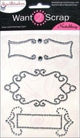 Nestabling Self-Adhesive Embellishments - Fancy Tag 2/Silver Gem