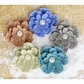 Paloma Burlap Flowers w/Pearls - Blue Moon