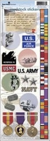Paper House Military Cardstock Stickers - Army/Air Force/Navy/USMC
