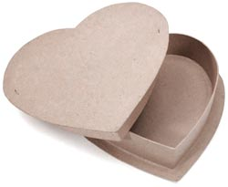 "Paper Mache Box - Heart 12"" - Click to enlarge"