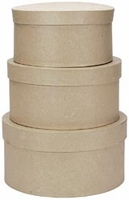 Paper Mache Round Boxes (Set of Three) - LRG