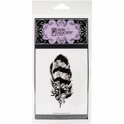 Paper Parachute Cling Rubber Stamps - Feather - Click to enlarge