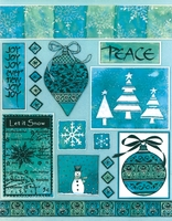 "Penny Black Christmas Sticker Sheet 7""x9"" Let It Snow"