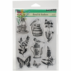 Penny Black Clear Stamps - Florals & Feathers - Click to enlarge