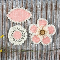"Pensacola Fabric & Paper Flowers 2.25"" to 3"" - Blush"