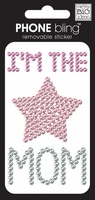 Phone Bling Stickers - I'm The Mom Pink/Clear