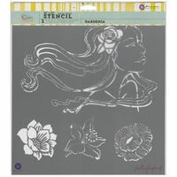 "Jamie Dougherty Bloom Stencil - 12""x12"" - Gardenia"
