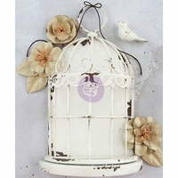 "Prima Marketing Frameworks Metal Birdcage - Antique White 7.8""x5.5""x2.75"""