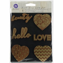 Prima Wooden Icons w/Foil - Hearts & Phrases - Click to enlarge