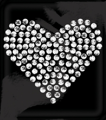 Rhinestone Word & Icon Stickers - Mini Traditional Heart/Crystal - Click to enlarge
