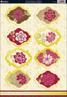 Shabby Chic Die-Cut Punch-Out Sheet - Vintage Flowers Ruby/Ivory