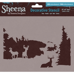 "Sheena Douglass Decorative Stencil 8""x6"" - Deer - Click to enlarge"