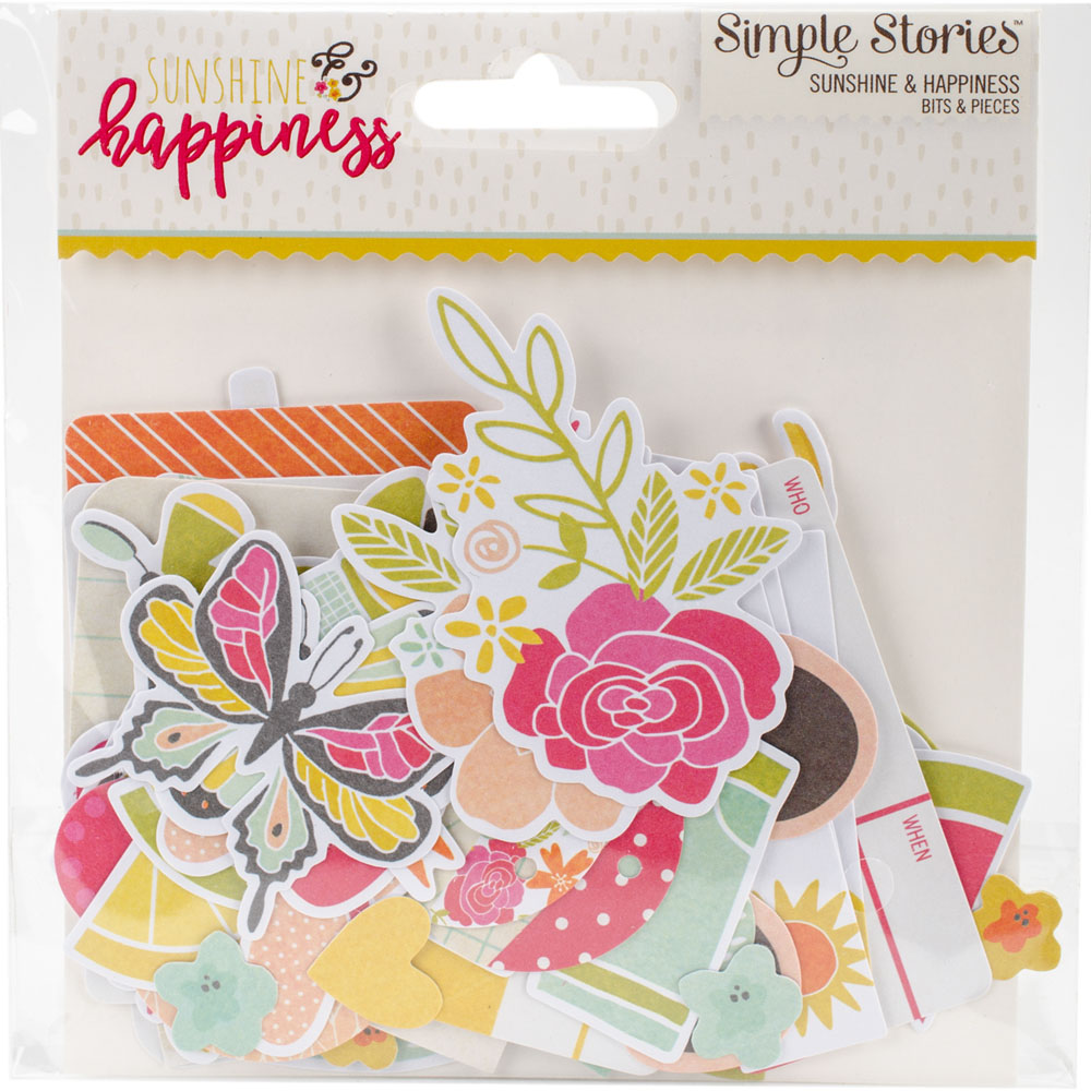 Simple Stories Sunshine & Happiness Bits & Pieces Cardstock Die-Cuts