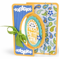 Sizzix Framelits Dies By Stephanie Barnard - Scallop Oval Flip-Its Card
