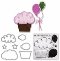 Sizzix Framelits Dies w/Stamps - Balloons & Cupcakes
