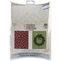Sizzix Texture Fades Embossing Folders - TH/Holly Pattern & Wreath