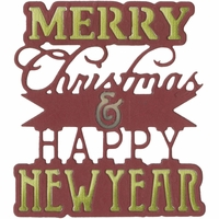 Sizzix Thinlits Die - Merry Christmas & Happy New Year Phrase