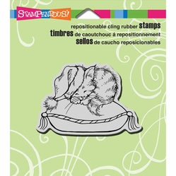 Stampendous Christmas Cling Rubber Stamp - Sheet Cozy Kitten - Click to enlarge