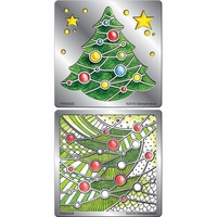Stampendous Stencil Duo w/Pen & Cards - Decorated Tree
