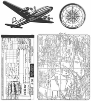 Tim Holtz® Cling Rubber Stamp Set - Air Travel