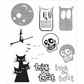Tim Holtz Cling Rubber Stamp Set - Halftone Halloween