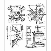 Tim Holtz Cling Rubber Stamp Set - Halloween Blueprint