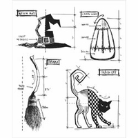 Tim Holtz Cling Rubber Stamp Set - Halloween Blueprint #3