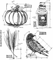 Tim Holtz Cling Rubber Stamp Set - Halloween Blueprints #2