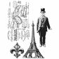 Tim Holtz Cling Rubber Stamp Set - Paris Memoir