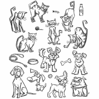 Tim Holtz Cling Stamps - Mini Cats & Dogs