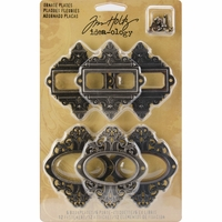 "Tim Holtz® Idea-Ology 2.5"" Ornate Plates w/Long Fasteners"