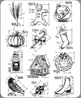 Tim Holtz Large Cling Rubber Stamp Set - Mini Blueprints #5