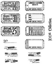 Tim Holtz Large Cling Rubber Stamp Set - Odds & Ends - Click to enlarge