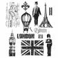 Tim Holtz Large Cling Rubber Stamp Set - Paris To London
