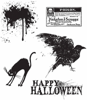 Tim Holtz Mini Cling Rubber Stamp Set - Spooky Stuff