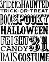 Tim Holtz Red Rubber Stamp - Halloween Words
