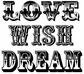 Tim Holtz Red Rubber Stamp - Love Wish Dream