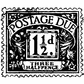 "Tim Holtz Red Rubber Stamp - Postage Due 1.25""x1.25"""