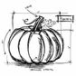 Tim Holtz Red Rubber Stamp - Pumpkin Sketch