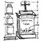 Tim Holtz Red Rubber Stamp - Tomb Sketch