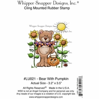 "Whipper Snapper Cling Stamp 4""x6"" - Bear With Pumpkin"