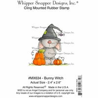 "Whipper Snapper Cling Stamp 4""x6"" - Bunny Witch"