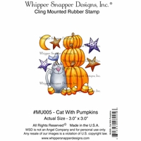 "Whipper Snapper Cling Stamp 4""x6"" - Cat With Pumpkin"