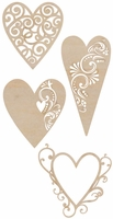 Wood Flourishes - Fancy Hearts