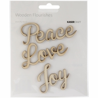 Wood Flourishes - Love Peace Joy Words