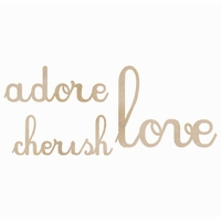 Wood Flourishes Words - Love Adore Cherish