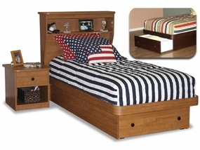 22-68 Twin Platform Bed with Front Drawer and Bookcase Headboard