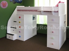 22-806 Twin Loft Bed with 2-Chests & 4-Stairs
