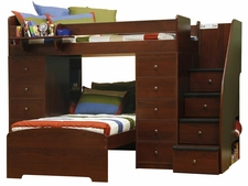 22-807 Twin/Twin Loft Bed with 2-Chests & 4-Stairs