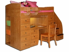 22-808 Twin Loft Bed with 2-Chests, Desk & 4-Stairs